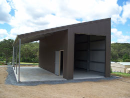 Skillion Shed with awning