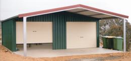 Garaport with 2 Roller Doors under gable