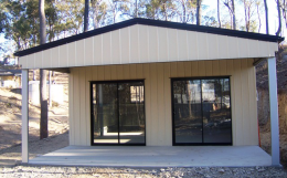 Garaport with 2 Glass Sliding Doors
